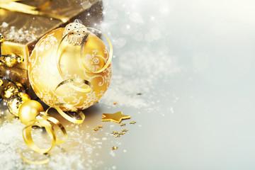 Gold christmas ball and gift