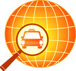 symbol of international taxi car with planet silhouette