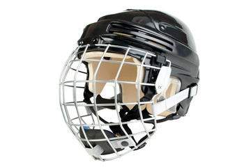 Black junior size hockey helmet, isolated on white