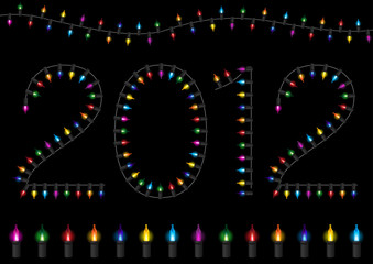 Colorful Festive Glow Light - 2012 Happy New Year