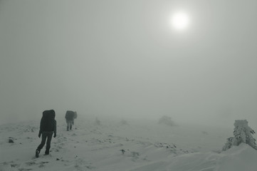 Hiker in  winter mountains in  fog