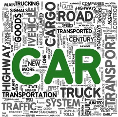 Car transport concept words in tag cloud