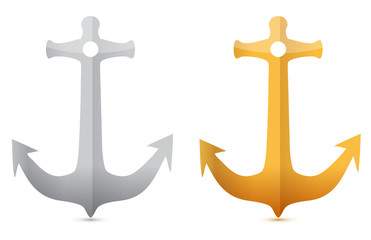 gold and silver anchors illustrations designs on white
