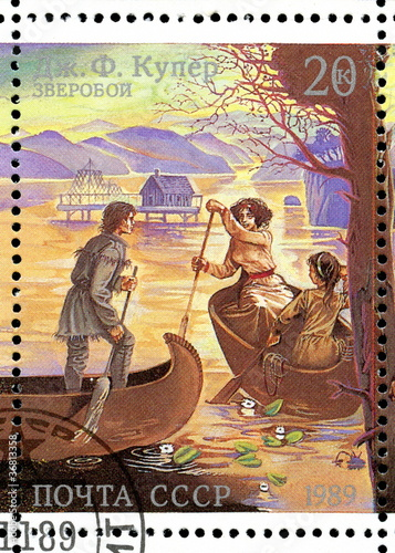 "Vintage stamp - Cooper's novel ""The Deerslayer"""