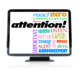 Attention Alert Announcement Words on HDTV Television