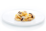 Tortellini dish with sauteed mushrooms and garlic