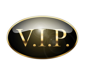 Icono texto VIP dorado brillante