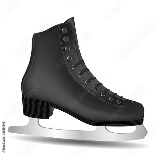 Isolated Black Skate on a White Background