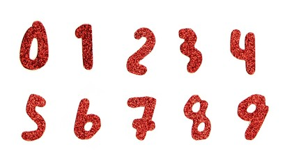 Numbers red and shimmer