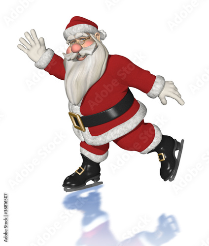 Santa Claus Ice Skating - 3d render