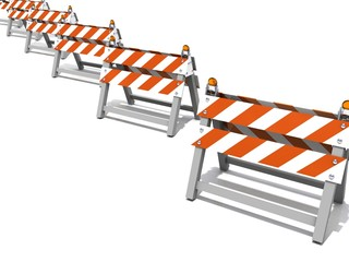 Construction road barriers in a row