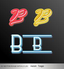 ai Vector image: initials (B) neon logo