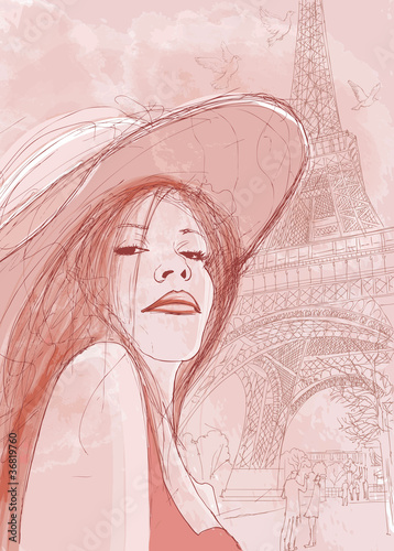 Papiers peints Peint Paris woman in autumn