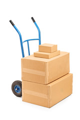 A view of a hand truck with many boxes on it