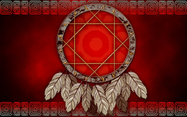 Dreamcatcher on red background
