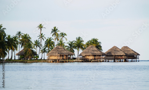Lodges on the water in the San Blas Islands in Panama