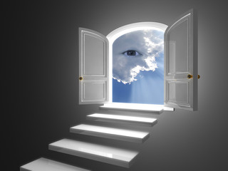 Big white door opened on a mystic eye in clouds