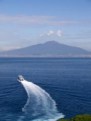 Ferry leaving Marina Piccolo, the port of Sorrento Italy