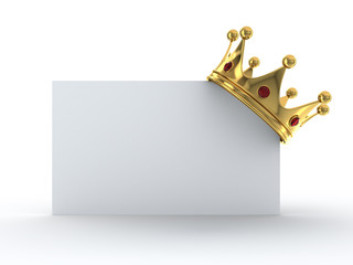 Golden crown on blank card