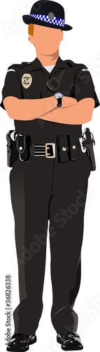 Police woman looking forward  isolated on white. Vector illustra