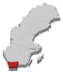 Map of Sweden, Skane County highlighted