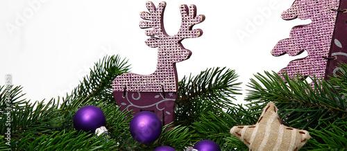 weihnachtsgesteck mit lila elch und baum 169 matthias