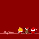 Xmas Card Santa, Angel & Reindeer Red