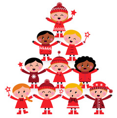 Christmas multicultural kids Tree isolated on white..