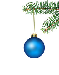 blue christmas ball with fir branch