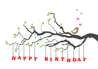 Happy birthday card with bird