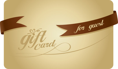 Gold Gift card for guest with ribbon