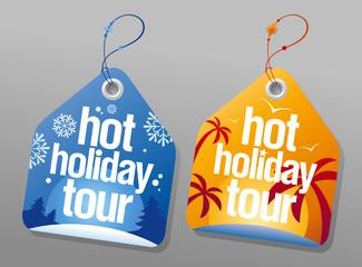 Hot holiday tour labels set
