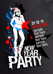 New Year Party design template with fashion girl