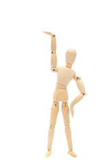 Wooden figure raising arm / hand