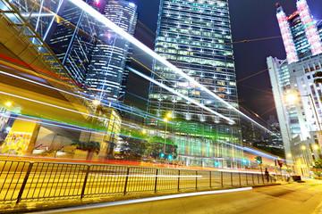 light trails in modern city