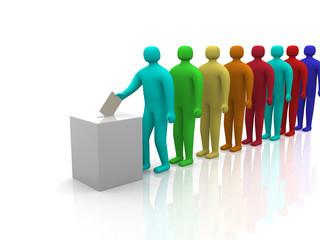 3d People waiting in line to vote