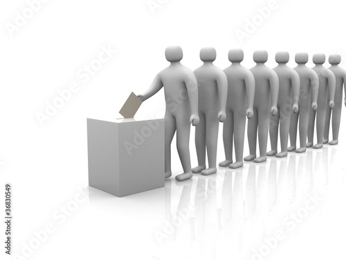 3d people - human character waiting in line to vote