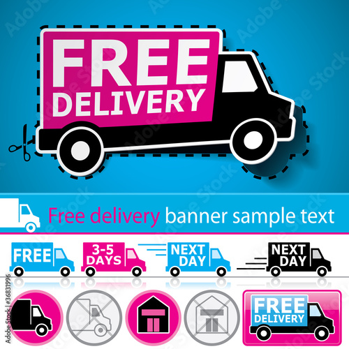 Delivery icons with cut out coupon, banner and glossy button