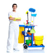 Professional cleaner with janitor cart.