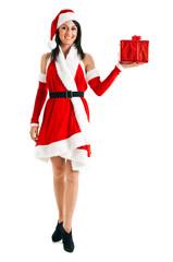 Sexy Santa Claus holding a present