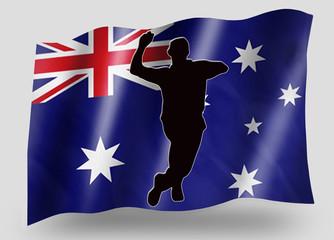 Country Flag Sport Icon Silhouette Australia Cricket Bowl