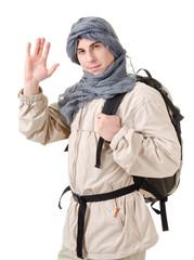 tourist hiding his head under a shawl