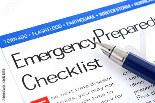 Leinwanddruck Bild Emergency Preparedness Checklist