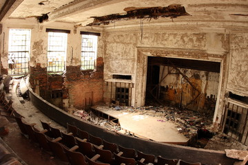Abandoned and decaying auditorium. City Methodist Church.