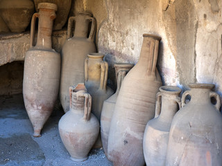 Amphorae in buried city Herculaneum in Italy
