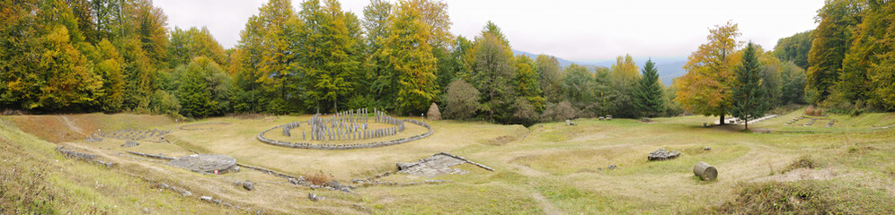 Panorama of Sanctuary of Dacians capital Sarmisegetusa Regia