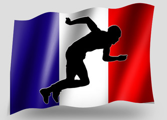 Country Flag Sport Icon Silhouette French Athletics