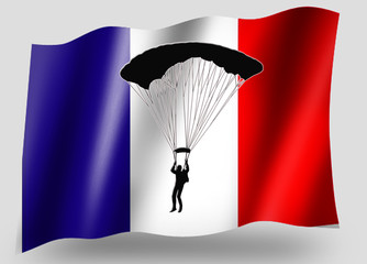Country Flag Sport Icon Silhouette French Parachuting