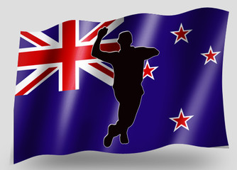 Country Flag Sport Icon Silhouette New Zealand Cricket Bowling