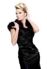 Fashion woman in black dress